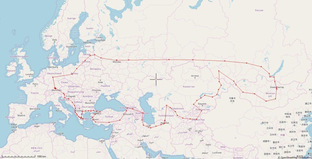 Karte der gelplanten Reiseroute von Deutschland in die Mongolei und zurück