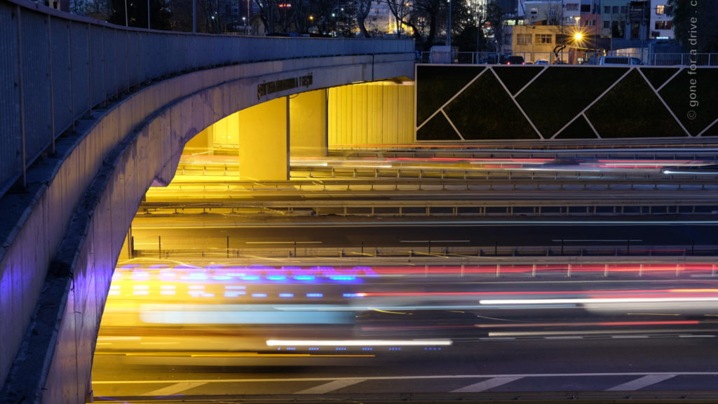 Blurred motion of car lights passing through a tunnel in Istanbul, Turkey.