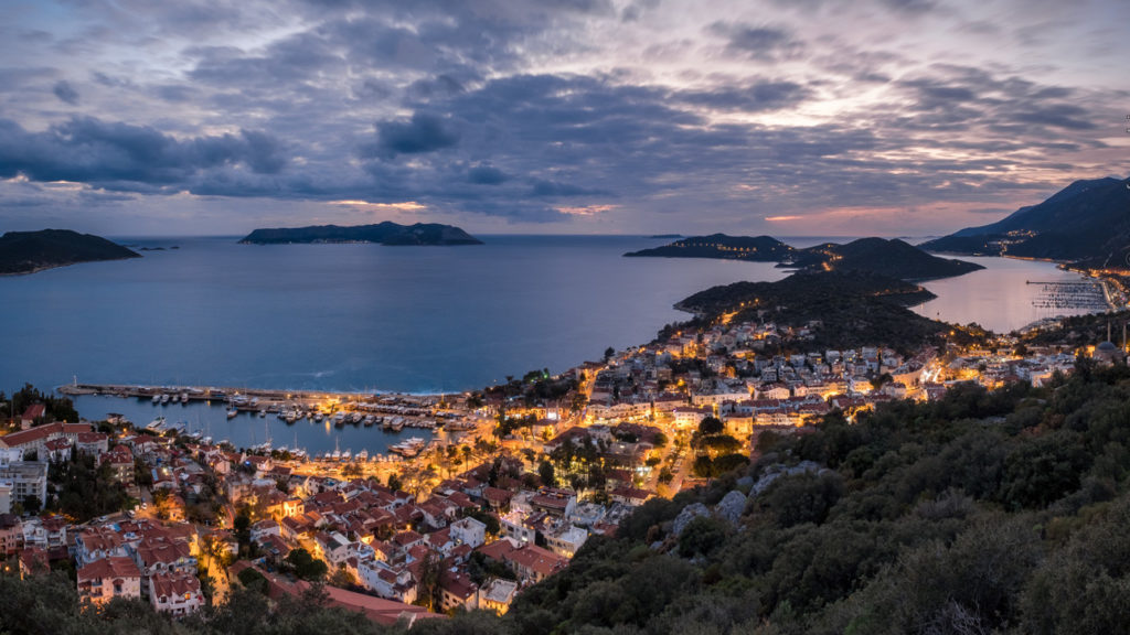 Blue hour panoramic view of the small town of Kas, Turkey