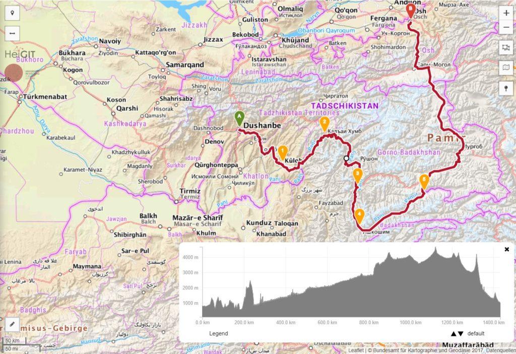 Route und Höhenprofil des Pamir-Highway mit dem Wakhan-Valley