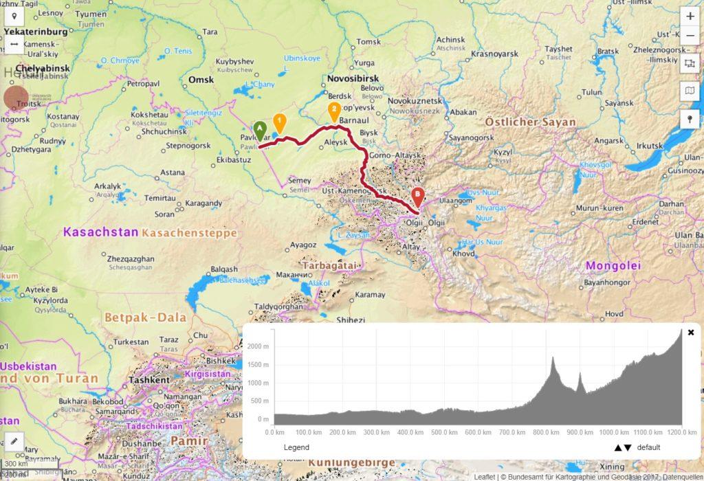 Route von Kasachstan durch den russischen Altai zur mongilischen Grenze.