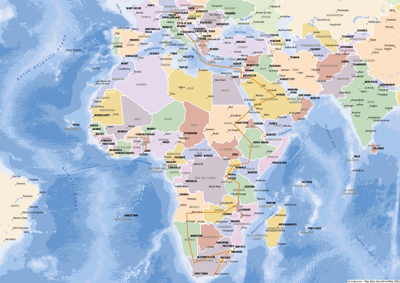 Reiseroute Mittlerer Osten und Afrika