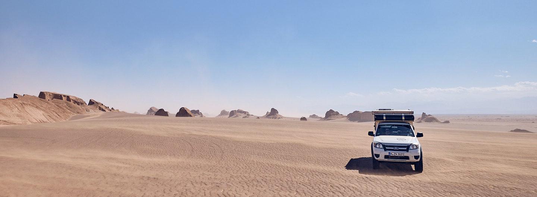 Header Gone For A Drive. Kalouts, Kaluts, Dasht-e Lut Wüste, Iran