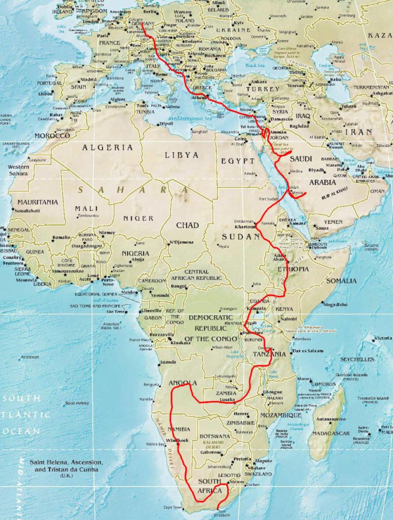 Geplante Reiseroute von Europa nach Afrika