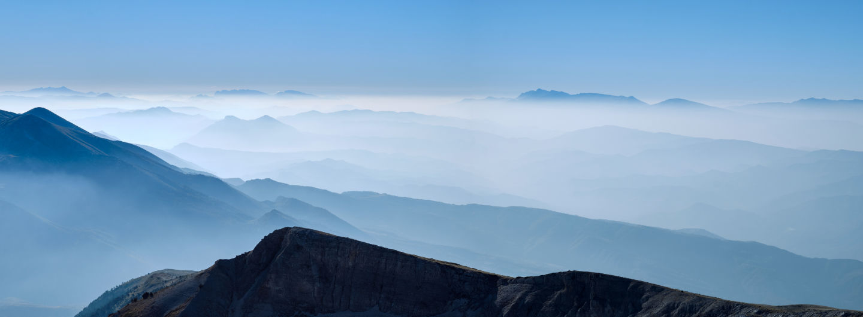 Bergpanorama vom Mount Tomorr, Albanien.